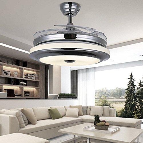 RS Lighting Best Ceiling Fan European Luxury Telescopic Fan Lights LED Ceiling Fan Chandelier for Living Bed Restaurant Room-Chorme by RS Lighting (Image #1)