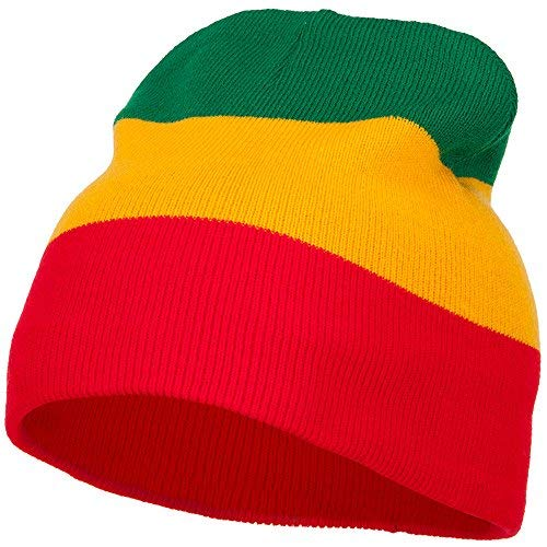 (3 Tone Design Rasta Beanie - Red Yellow Green OSFM )