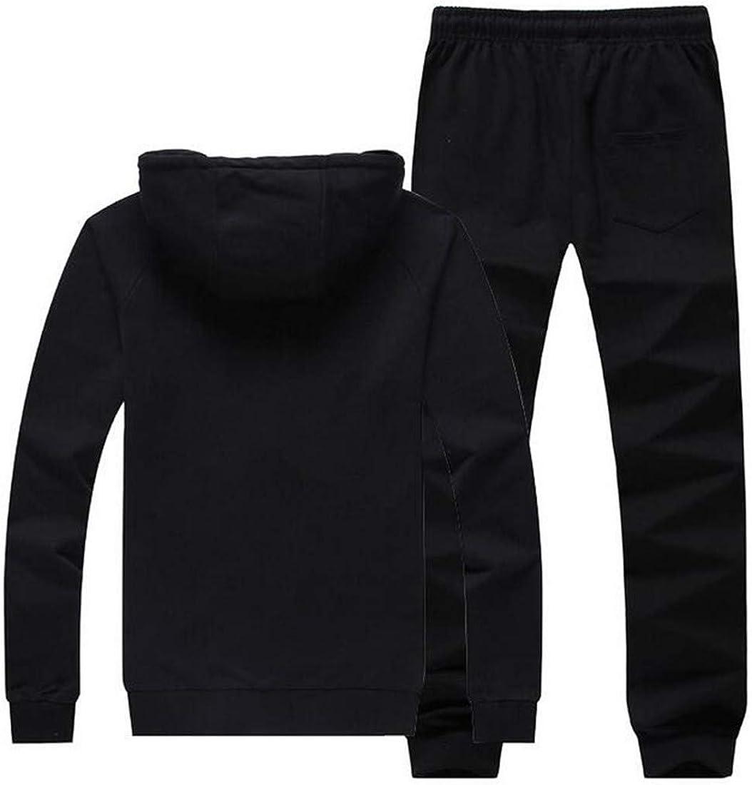 Pandapang Mens Hooded Workout Sweatshirt Sport Two Pieces Slim Tracksuit Set