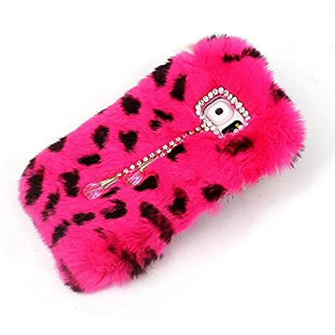 For Samsung Galaxy Note 4 Case,Rejected all traditions Fashion Diamonds Bow Bling Shiny Pendant Furry Rabbit Fur Fluffy Soft Warm Case Cover - Rose (Note 4 Case Of Rats)