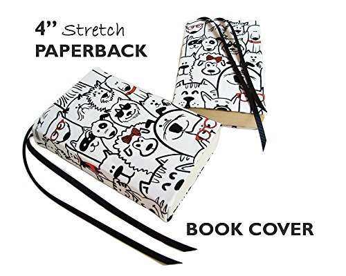 White Stretchable Book Cover : Quot mass market size paperback book cover in dogs stretch