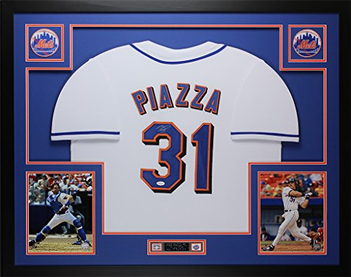 Mike Piazza Autograph (Mike Piazza Autographed White Mets Jersey - Beautifully Matted and Framed - Hand Signed By Mike Piazza and Certified Authentic by JSA COA - Includes Certificate of Authenticity)