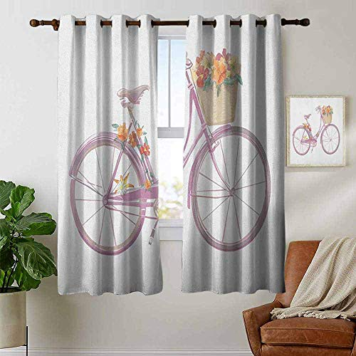 (petpany Blackout Curtain Panels Window Draperies Bicycle,Watercolor Illustration of a Pink Bicycle with Flowers Romantic Vintage Artistic, Multicolor,for Bedroom, Kitchen, Living Room 52