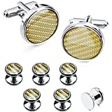 HAWSON Carbon Fiber Cuff Links Tuxedo Studs Set - Wedding Business Gift