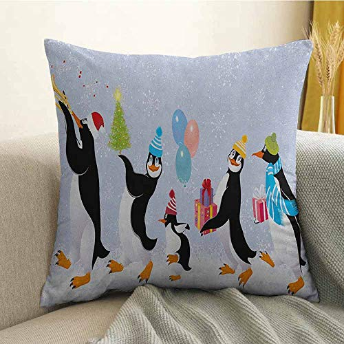 Christmas Microfiber Group of Cute Penguins in Caps Walking on Snow with Surprise Sofa Cushion Cover Bedroom car Decoration W16 x L24 Inch Multicolor ()