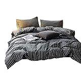 FenDie Modern Bedding Set 2 Pillowcases Kids Teens Vertical White Stripes Printed Duvet Cover Set Hotel Cotton Quality Duvet Cover Zipper Closure (Queen, Gray)