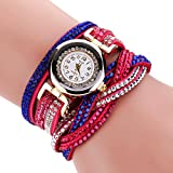 Duoya Women's Fashion Leather Strap Crystal Watch Wrap Around Band Colorful Rivet D093