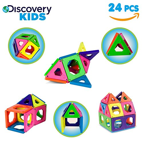 Discovery Kids Toys (Discovery Kids 24 Piece Best Magnetic Tiles Set, Magnetic Building Blocks Kit for Boys/Girls, 2D, 3D Educational Creativity, STEM Toys for Children)