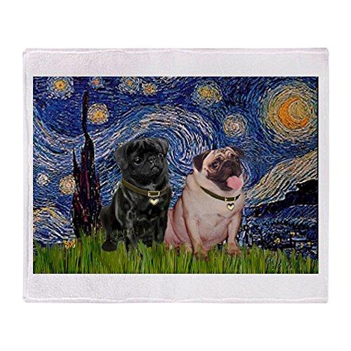 CafePress Starry Night Pug Pair Soft Fleece Throw Blanket, 50