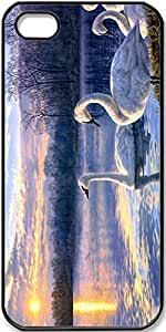 iPhone 5/5s Art-Painting-Swan-Lake-Sunset-Landscape Case for iPhone 5 iPhone 5s with Black Side