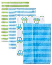 Gerber Baby Boys\' 4 Pack Flannel Burp Cloths, Cars, One Size
