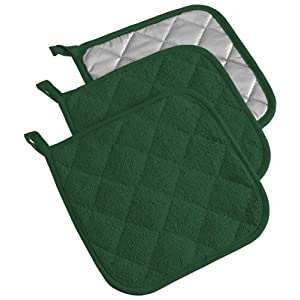 "DII Cotton Terry Pot Holders, 7x7""  Set of 3, Heat Resistant and Machine Washable Hot Pads for Kitchen Cooking and Baking-Dark Green"