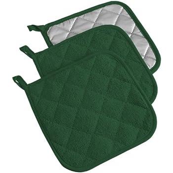 DII 100% Cotton, Terry Pot Holder Set Machine Washable, Heat Resistant, 7 x 7, Dark Green, 3 Piece