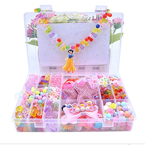Lanlan Bead Kit in Butterfly Box with Handle Large 26 Grids Beads Kit Educational Toys Jewellery Hair Accessories for DIY Making Princess 2 (Princess Hair Kit)