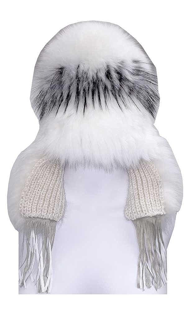 Northstar Womens White-Silver Fox Fur Fashion Beanie Hat H-29 White//Black