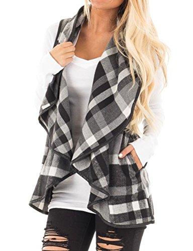- Dresswel Women Lapel Collar Sleeveless Open Front Plaid Print Vest Cardigan Coat Grey