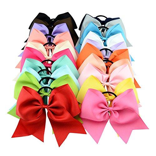 Welandtech 6-1/2 inch Large Cheerleading Girl Bows Ponytail Holder Elastic Hair (2016 Girl Costumes)