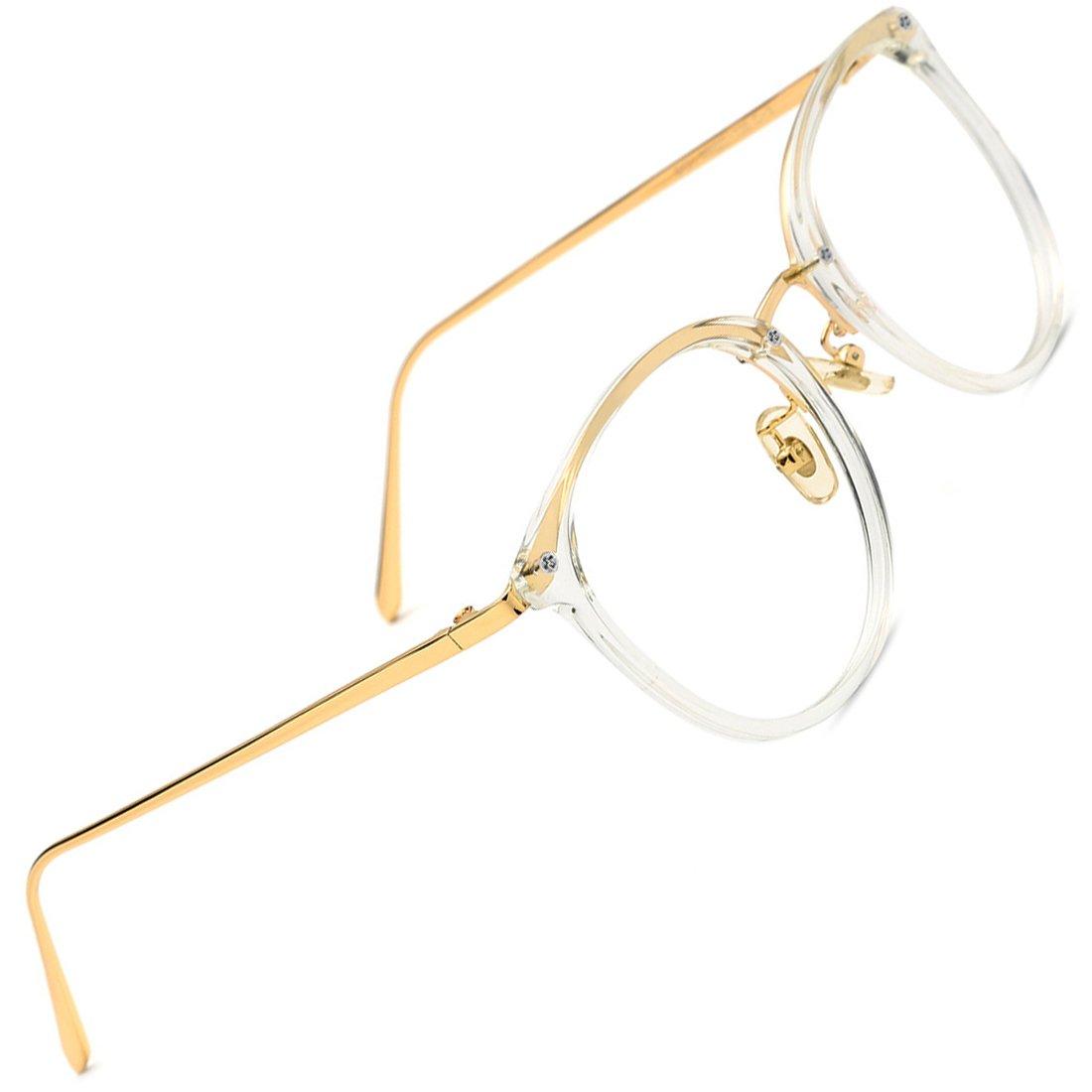b83c69bdfd Lux Round Vintage Optical Eyewear Glasses Frame Gold White Fashion Design  Style