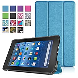 TNP New Fire 7 Case (Blue) - Ultra Slim Lightweight Folding Folio Cover Stand with Hard Rubberized Back for Amazon New Fire 7 Inch (5th Generation) 2015 Release Tablet