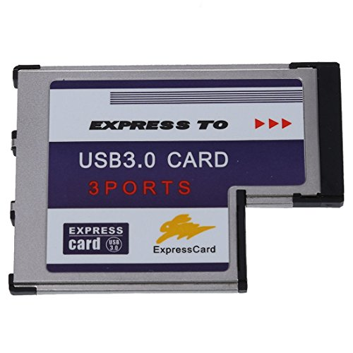 SODIAL(R)3 Port USB 3.0 Express Card 54mm PCMCIA Express Card for Laptop NEW