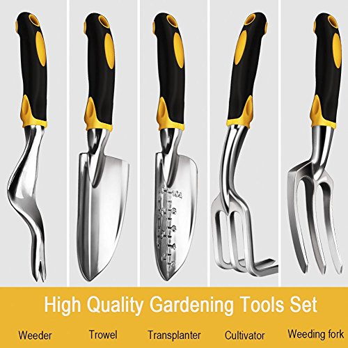 5-Piece Garden Tools Set Garden tools kit-Free Storage Bag-Weeder,Trowel ,Transplanter,Cultivator,Weeding Fork -High Strength Aluminum and Silicone Handle Round Hangging Hole for Storage