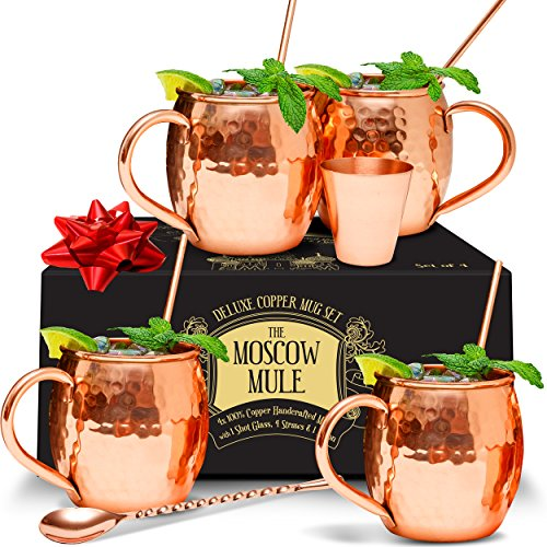 Benicci Moscow Mule Copper Mugs - Set of 4 - 100% HANDCRAFTED - Food Safe Pure Solid Unlined Copper Mug 16 oz Gift Set with BONUS: Highest Quality Cocktail Copper Straws, Shot Glass and Spoon