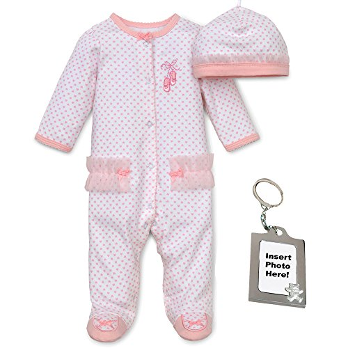 Little Me Baby-Girls Ballerina Pink Footie, Hat and Keychain 9 Mths, White