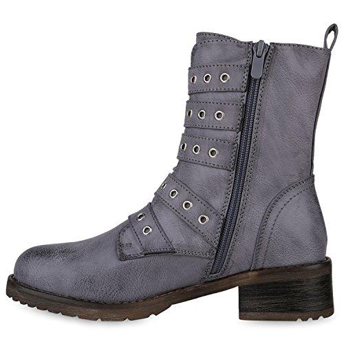 Damen Stiefeletten Lack Worker Boots Schnürstiefel Zipper Flandell Blau Grau Schnalle