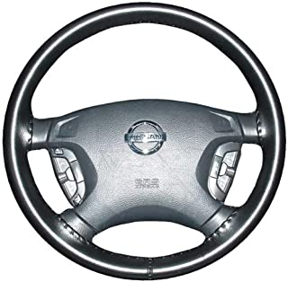 product image for Wheelskins Genuine Leather Black Steering Wheel Cover Compatible with Pontiac Vehicles -Size A