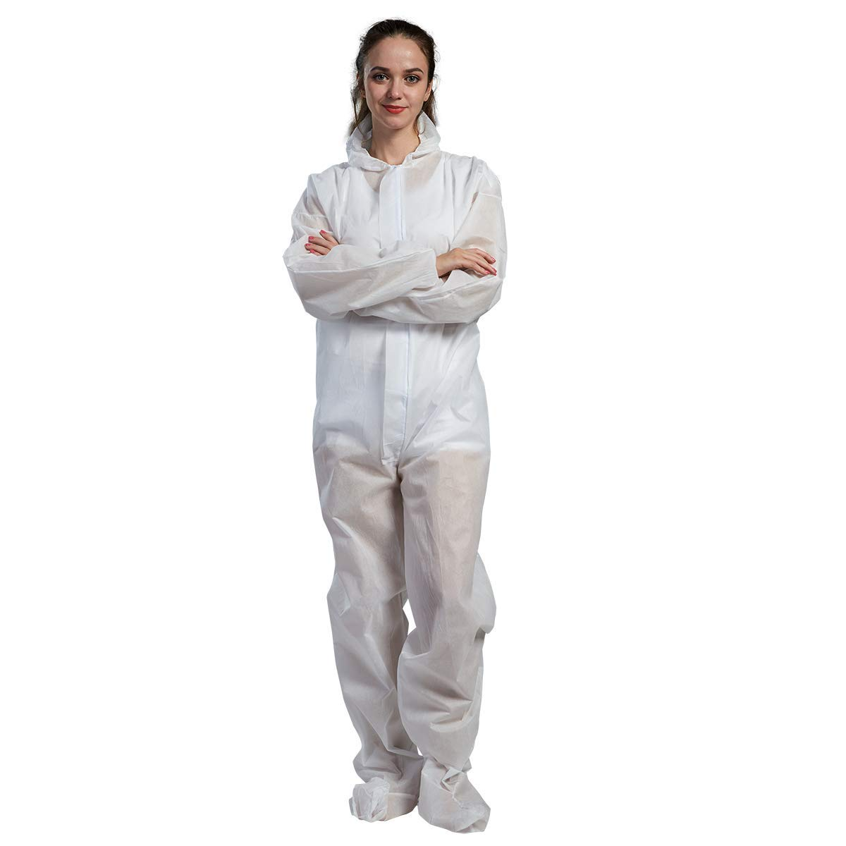Cityelf Disposable Coveralls with Hood Boot and Elastic Cuff Wrists Overalls Unisex Suit