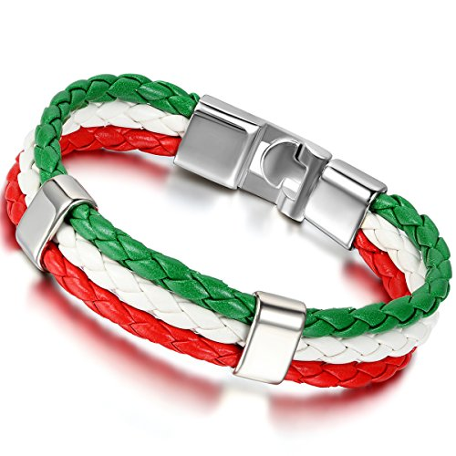 Flongo Men's Biker Alloy Red White Green Italy Italian Banner Flag Braided Leather Cuff Bracelet Bangle, 8.3 inches ()