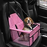 HIPPIH Collapsible Pet Booster Car Seat Cat Car Carrier with Safety Leash and Zipper Storage Pocket with 2 Support Bars, Portable Small Dog, Upgraded