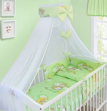 LUXURY 10Pcs BABY BEDDING SET COT PILLOW DUVET COVER BUMPER CANOPY to Fit Cot Size 120x60cm 100% COTTON (Stars White) TheLittles24