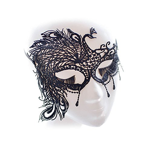 Women Black Party Nightclub Dance Ball Halloween Crochet Masquerade Eye Mask (Peacock)