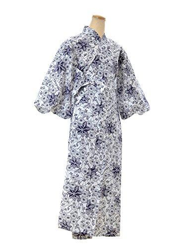 ジュニア対角線論争的ねまき 単衣寝巻き浴衣 白地に紺 レディース 日本製
