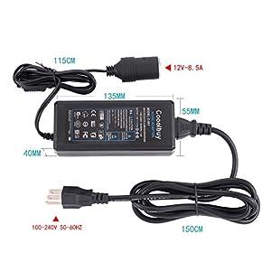 AC to DC Converter, Cooolbuy 8.5A 102W 110-220V to 12V Car Cigarette Lighter Socket AC/DC Power Supply Charging Adapter
