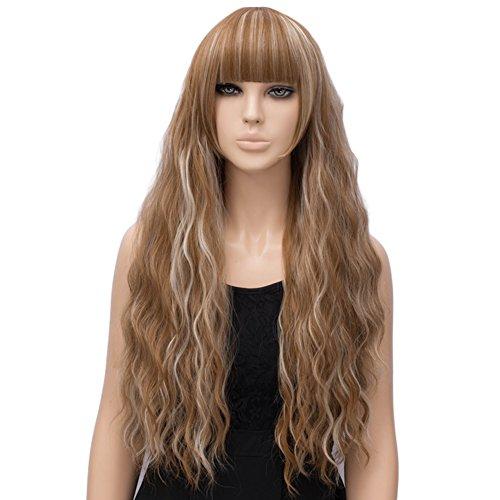 Netgo Women's Brown Mixed Blonde Wig Long