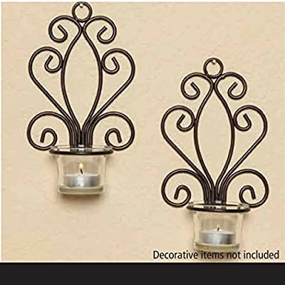 """Hosley Set of Two, Iron Wall Sconce, Tea Light Candle Sconces, 7.68"""" High. Ideal Gift for Spa, Aromatherapy, wedding, Votive Candle Gardens. Hand made by Artisans"""