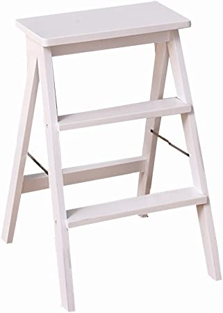 HIGHKAS Taburete de Escalera Plegable de 3 escalones Taburete de Madera portátil multifunción Taburete de Cocina para el hogar, 3 Colores (Color: Blanco): Amazon.es: Hogar