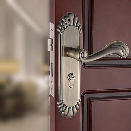 GZF Manillas para puertas Cerradura de puerta europea cerradura de puerta de interior bronce verde dormitorio
