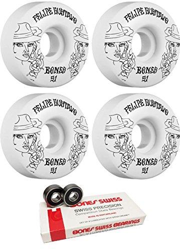 やがて原油不規則なBones Wheels 51 mm STF ChicaスケートボードWheels with Bones Bearings – 8 mm Bones Swiss Skateboard Bearings – 2アイテムのバンドル