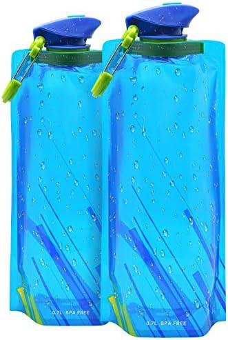 給水袋 折りたたみ水筒 水分補給 ハイキング アウトドア用品 防災 登山 サイクリング キャンプ 水筒 700ml 水 ボトル 2個