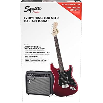 Squier by Fender Stratocaster Beginner Electric Guitar Pack with Frontman 15G Amplifier - Candy Apple Red Finish - HSS from Fender Musical Instruments Corp.