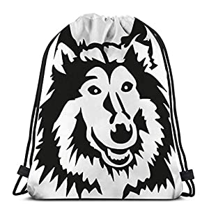 Dance Sport Gym Lightweight Drawstring Bags Sackpack rough collie head dog pet 2