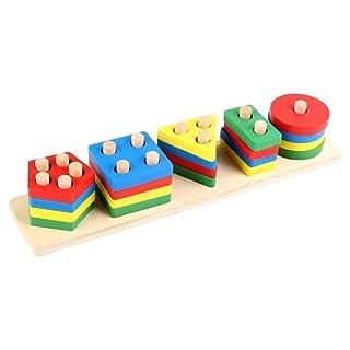YeahiBaby Incastro Forme impilatore Geometrico Legno Giocattoli Legno Montessori