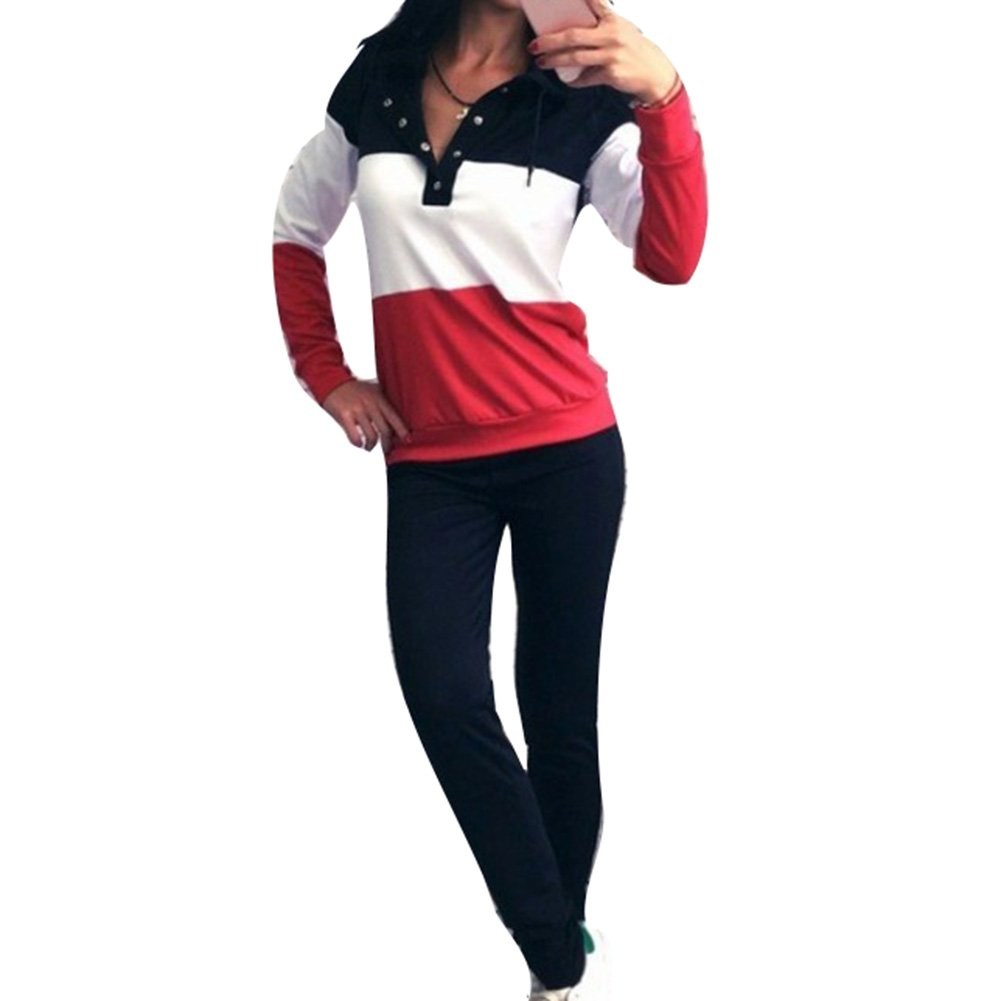 Two Piece Sport Set Women Tracksuit Long Sleeve Sweatshirt Sweatpants Jogging Suits Workout Training Outdoor Clothes Running Cycling Suits Activewear Sportswear Loungewear Leisure Suit T180403WY6-J