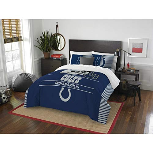 3 Piece NFL Indianapolis Colts Comforter Full Queen Set, Sports Patterned Bedding, Featuring Team Logo, Fan Merchandise, Team Spirit, Football Themed, National Football League, Blue, White, Unisex