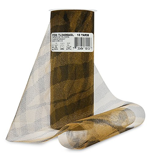 Expo Zebra Print Tulle Spool of 10-Yard, Antique Gold
