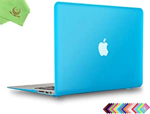 UESWILL Smooth Matte Hard Shell Case Cover for 2010-2017 Release MacBook Air 13 inch (Model A1466 / A1369) + Microfibre Cleaning Cloth, Aqua Blue