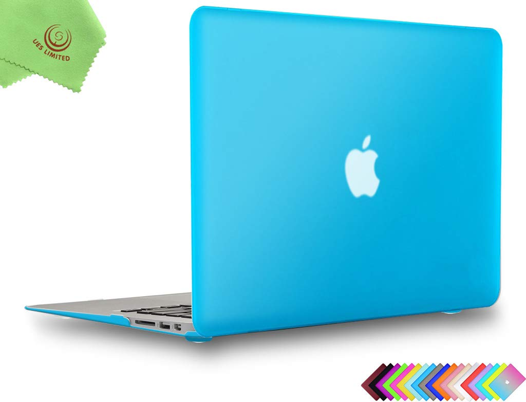 UESWILL Smooth Matte Hard Shell Case Cover for MacBook Air 13 inch (Model A1466 / A1369) + Microfibre Cleaning Cloth, Aqua Blue